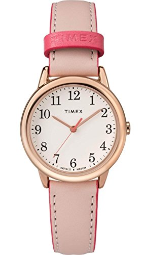 Leather Pink Watch (Timex Women's TW2R62800 Easy Reader 30mm Pink/Rose Gold-Tone Leather Strap Watch)