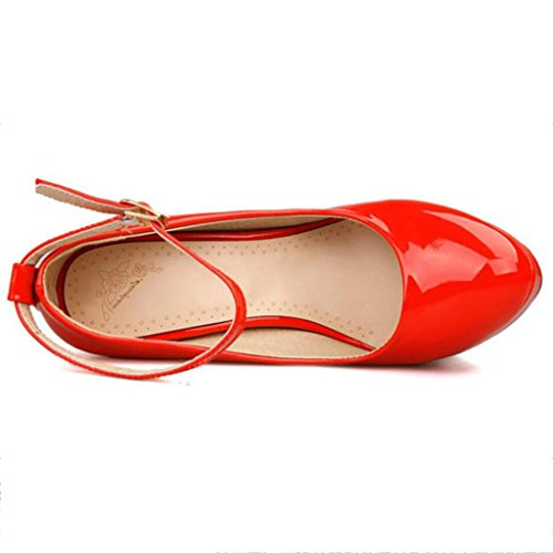 W&LM Sra Tacones altos Ultra Boca rasa Zapatos individuales Cabeza redonda De acuerdo Zapatos de baile Red