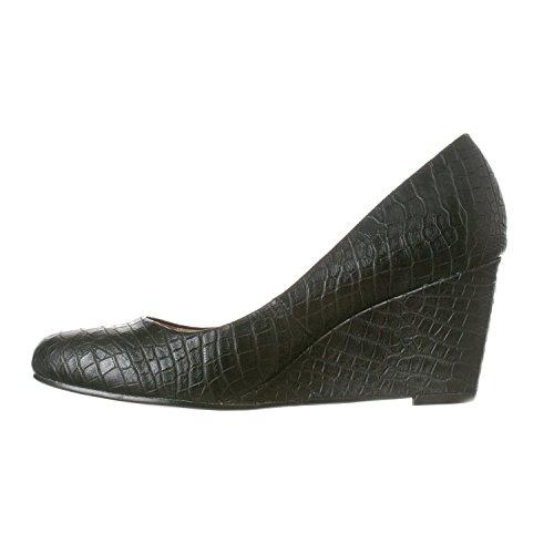Heel Wedge Women's Riverberry Mid Toe Round Leah Black Pumps Croc YwRtqR