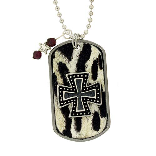 Rock n' Roll Iron Cross Zebra Print Dog Tag Necklace
