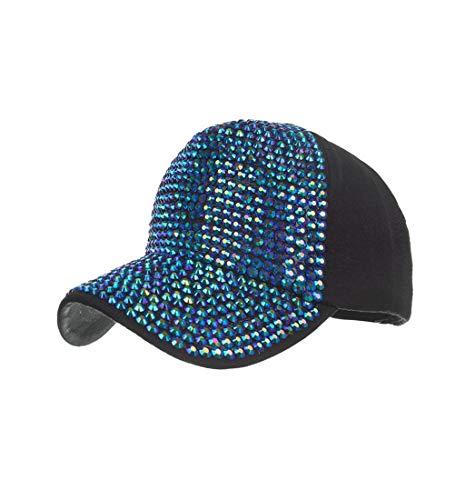 Pausseo Women's Baseball Caps, Fashion Adjustable Cotton Cap Star Rhinestone Cap Sun - Rhinestone Bride Cap