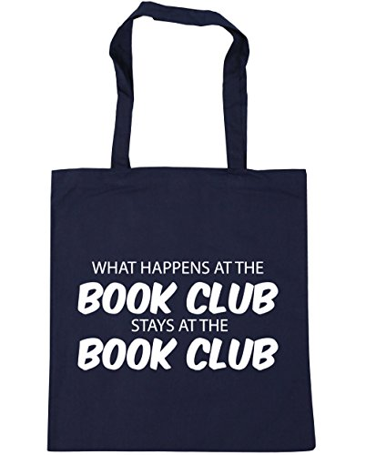 HippoWarehouse What happens at the book club stays at the book club Tote Shopping Gym Beach Bag 42cm x38cm, 10 litres French Navy