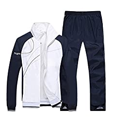Mens Casual Zipper Long Sleeves Sports Running Athletic Tracksuit White XL