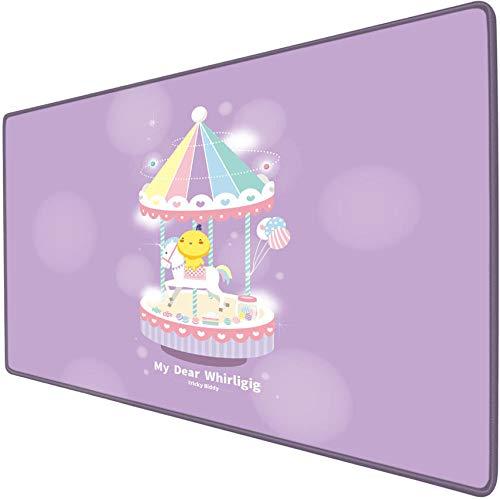 IKAEASD Alfombrillas de raton Personalizadas Polluelo Infantil carrusel Amarillo Lindo Dibujos Animados Rosa Mouse Pad Game Grande XXL Oficina hogar Suave Liso preciso ninos ninas