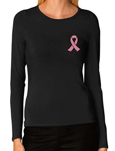 Breast Cancer Awareness - Pocket Size Pink Ribbon Women Long Sleeve T-Shirt XX-Large Black