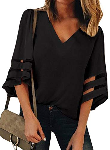 BLENCOT Womens Casual 3 4 Sleeve Bell Sleeve Lace Patchwork Black Chiffon Blouse Shirt Casual Loose Tops Large ()