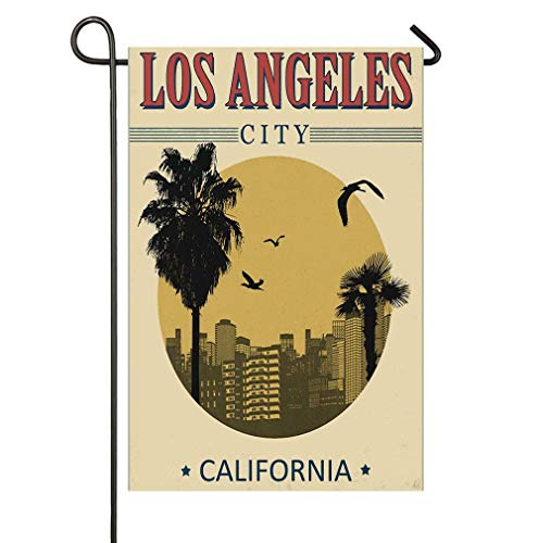AnleyGardeflagsU Los Angeles City from California in Vintage Style Birds Vacation Journey Travel Theme Garden Flag for Garden Decorations Party Supplies]()