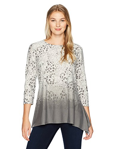 Ruby Rd. Women's Embellished Pointelle Textured Border Printed Knit Top, Platinum Multi, Medium (Top Knit Pointelle)