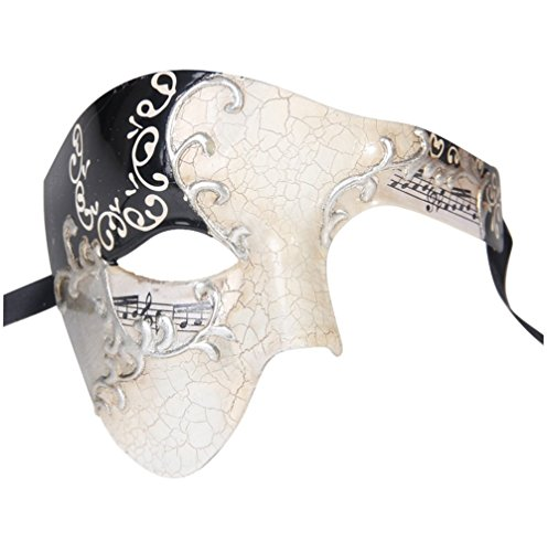 Luxury Mask Men's Phantom Of The Opera Half Face Masquerade Mask Vintage Design, Silver/Black, One Size -