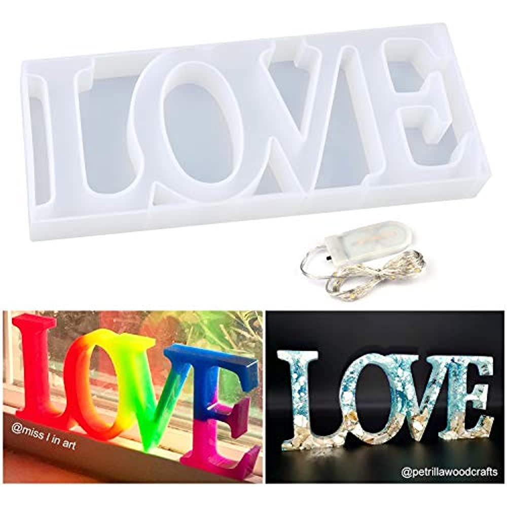 Resin Keychain Pendant Love Sign Mold with Bit Heart Mold Resin Silicone Molds for Table Decoration Love Silicone Resin Molds Pack of 2