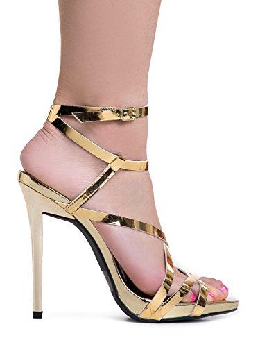 Sandals amp; Gold Ankle Pumps Shiny High Strappy Wedding Strap Dress Elegant Women's Shiny Comfortable Heel Metallic Heeled Party qUwgBqI