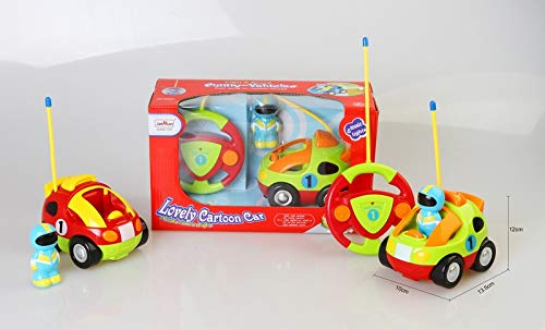 MeeYum Kids and Toddler RC Cartoon Remote Control Race Car with Lights and Music Includes Driver Figure