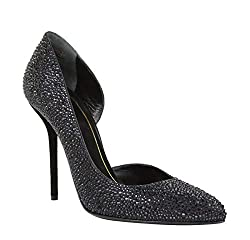Women's Black Satin Heel Pumps with Crystals