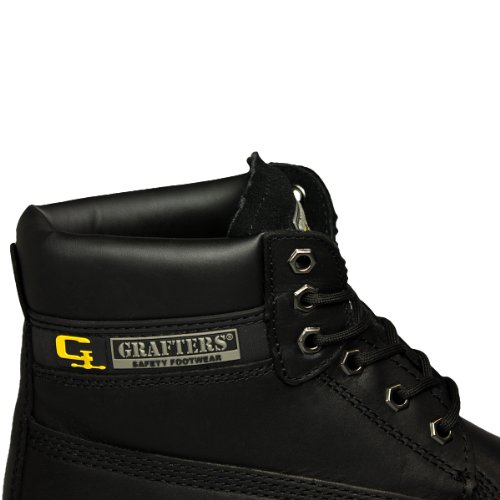 Grafters Men's 6 Eyelet Modern Leather Safety Boots 9 UK Black