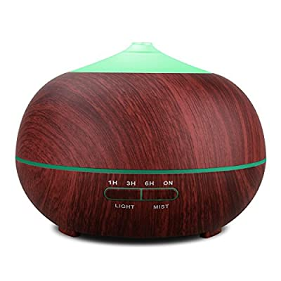 TONERONE Essential Oil Diffuser 400ml Wood Grain Cool Mist Aromatherapy Humidifier Ultrasonic Aroma Humidifier for Office, Baby Room, Bedroom, Conference room, fitness room