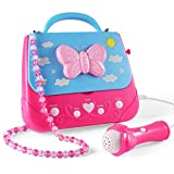 Car Guardiance Kids Karaoke Machine, Girls Karaoke Machine Toys Music Player with Microphone and Lights, Battery Operated Portable Singing Machine with Adorable Sing-Along Boom Box for Girls