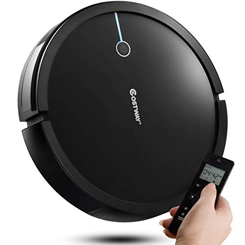 Costway Robot Vacuum Cleaner, 2000Pa Suction Cleaner Smart Schedule Cleaning, Remote Control, with HEPA Filter, Super Quiet Self-Charging Robotic Vacuums for Pet Hair, Hard Floor & Thin Carpet(Black)