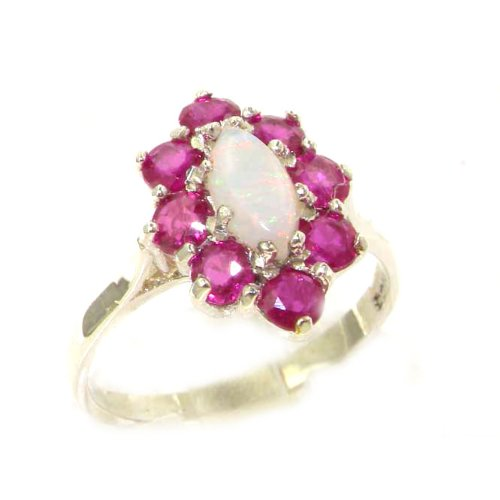 925 Sterling Silver Real Genuine Opal and Ruby Womens Band Ring LetsBuyGold Jewelers 2142/4/10-SS