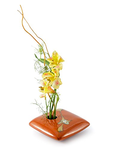 Red Square Vase - Georgetown Pottery Square Ikebana Flower Vase, Red Zen