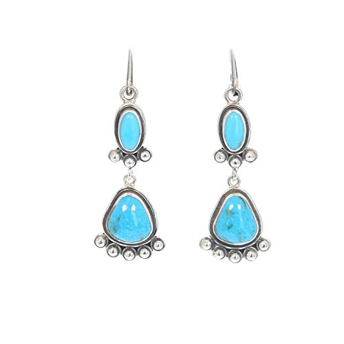 Morenci Turquoise Earrings 2 Stones Sterling Deep Blue ()