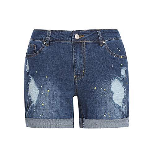 MSSHE Women's Plus Size Printed Cuffed Denim Shorts 18W