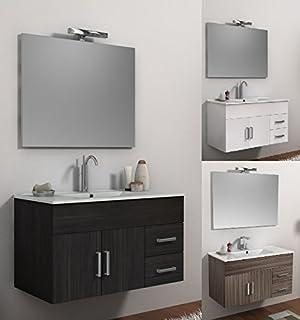 mobile arredo bagno cm 100 bianco weng o larice con lavabo in ceramica sospeso mobili
