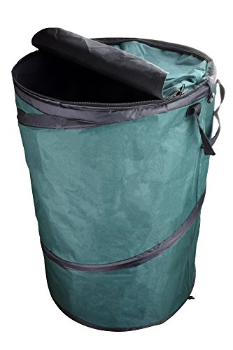 (SE GC5002L Collapsible Green Heavy Duty Reusable Gardening and Landscaping Bag with Zippered Lid)