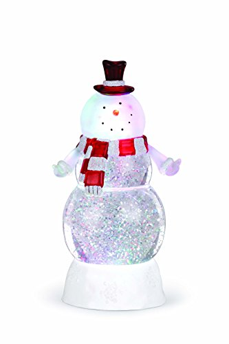 Happy Snowman Glitter LED Light Up 9 Inch Acrylic Christmas Tabletop Figurine -