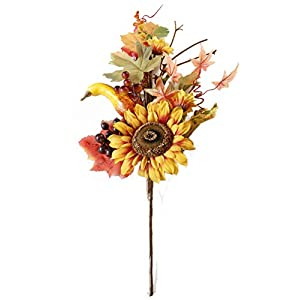 Charmly Artificial Sunflower Pumpkin Flowers Fake Sunflowers Maple Leaves and Berries for Home Wedding Party Halloween Christmas Decor 1 Bouquet 13