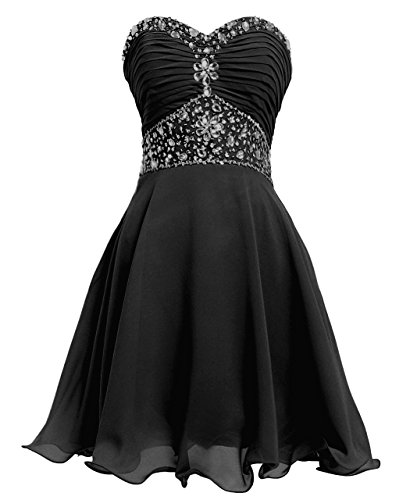 Sweetheart Dance Dresses (FAIRY COUPLE Short Chiffon Strapless Crystal Homecoming Dress D0263 (US4, Black))