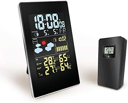天気付き時計デジタル気象観測所屋内屋外気象観測所気象アラーム時計気象観測所ウィルレスカラーHDディスプレイ気象予報ステーション