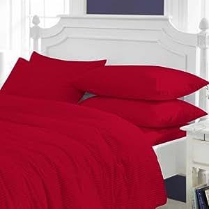 Ropa de cama PEARL 800 TC algodón egipcio de funda de edredón con diseño de bandera de Italia acabado diseño de rayas (matrimonio pequeña, rojo sangre)