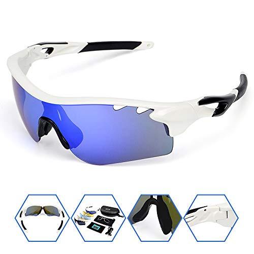 SPOSUNE Polarized Sports Sunglasses with 5 Set Interchangeable Lenses Myopia