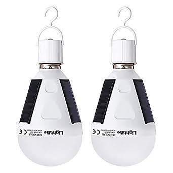 LightMe 2 Pieces Portable Solar Powered Led Bulb Light Outdoor Solar Energy Lamp Lighting (White-12W-2Pack)