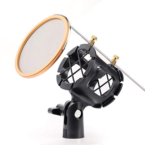 Aokur Microphone Shock Mount, with Pop Filter Metal Mesh Net, Condenser Shock Mount Holder Clip for Diameter 1.7 inch-2.0 inch Microphone, Screw Adapter for metal 5/8