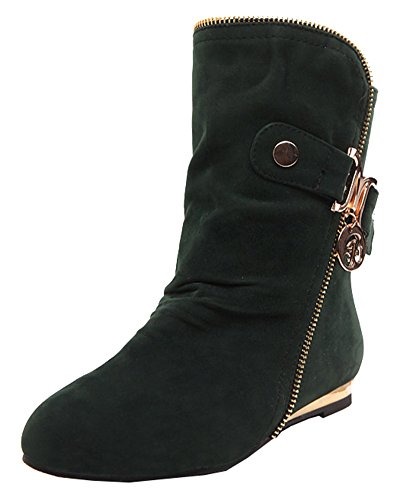Lined Zipper Pull Boots On Women's Faux Green Comfortable Metal SHOWHOW Frosted Ankle Low Heel Fur xBZqP4w