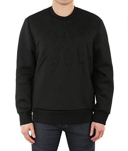 wiberlux-neil-barrett-mens-embossed-thunder-round-neck-sweatshirt-l-black