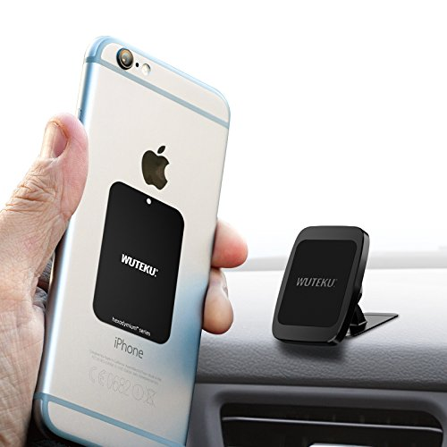 Cell Accessory Kit - Wuteku Magnetic Cell Phone Holder Kit For Car | Works on All Vehicles, Phones & Tablets | Best Lightweight Dashboard Mount | iPhone X, 8, 7 & Galaxy S9, S8 | Top Rated by Uber Driver