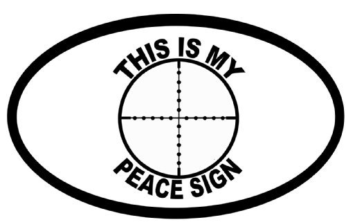 This Is My Peace Sign Bumper Sticker Gun Target Cross Hairs Oval Car Decal 5