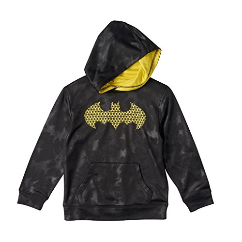 Dc Lined Sweatshirt (Boys Batman Pullover Fleece-Lined Hoodie Sweatshirt Black/Yellow DC-Comics Hoody (Large Child 7))