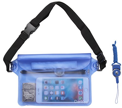 Danyee® 安心交換保証付 防水ポーチ (全5色) 3重チャック PVC素材 (ブルー) 海水浴 プール 釣り バイク ウエストバッグ 防水パック 防水 携帯 (ZBAG-PVC-Blue)の商品画像