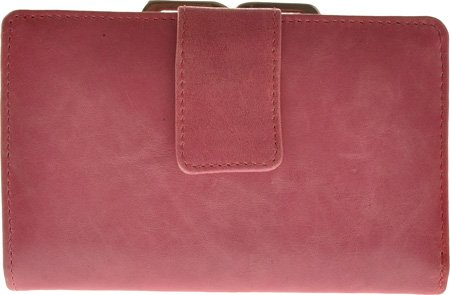 Leather Framed French Wallet - Distressed Leather Framed French Purse Pink
