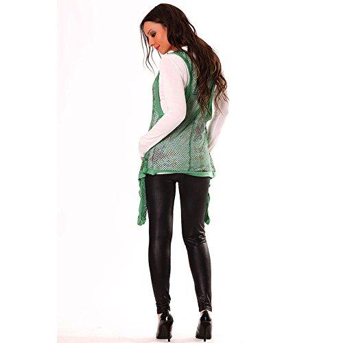 Miss Wear Line-habit Damen Langarm Shirt weiß-Design, Weiß