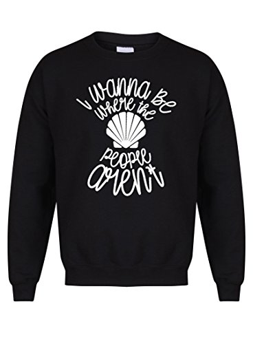 Kelham Print Unisex Slogan Sweater Jumper I Wanna Be Where The People aren't Black X Large with White]()