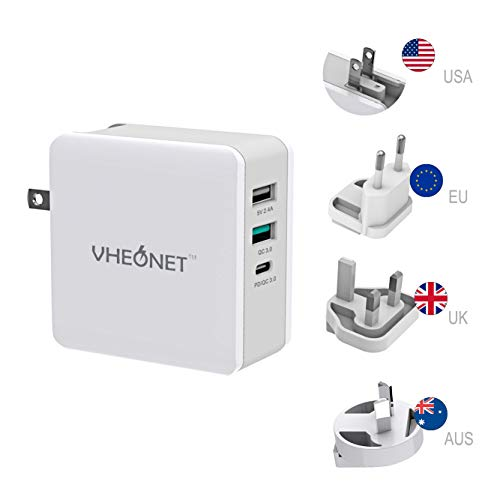 Fast Charging USB C Wall Charger 3-Port 65W PD Wall Adapter with Foldable Plug for MacBook, iPhone Xs/XS Max/XR, Samsung Galaxy S8 / S8+ / Note8 and More ()