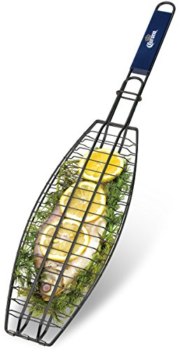 Corona BBQ Charcoal Grill Accessories as Fish Grilling Basket with Locking Grill Handle for Outdoor / Indoor BBQ Set Tools for Grilling Any Fish Up To (Cooking Fish)