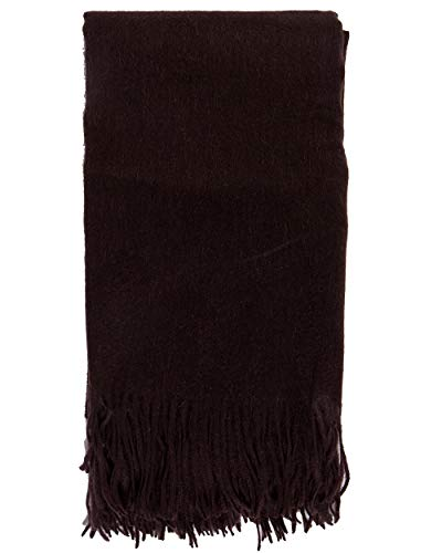 Espresso Wool Cashmere - Alashan Cashmere Blend Ripple Finish Woven Throw - Espresso