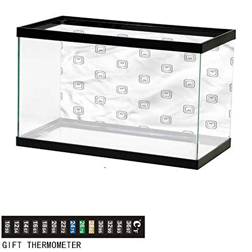 bybyhome Fish Tank Backdrop Grey,Geometric Figures with Stripes,Aquarium Background,36