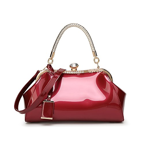 Tisdaini Women's Handbag New Simple Fashion Patent Leather Diamond Shoulder Messenger Bag Red Wine