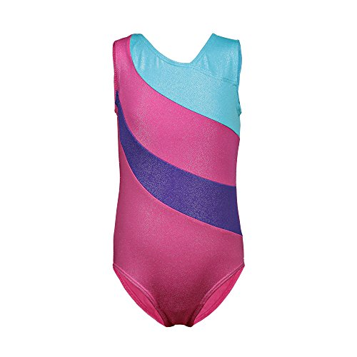 One-piece Rainbow Stripes Ballet Tutu Dancing Athletic Leotard for Little Girl,Hot Pink,130(6-7Y)